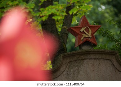Unique view on hammer and sickle star on graves of world war 2 victim