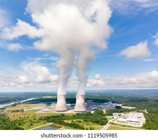 Unique view of the Watts Bar nuclear reactore with cooling tower pushing steam