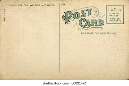 Unique Vintage Blank Postcard requiring a one cent stamp.