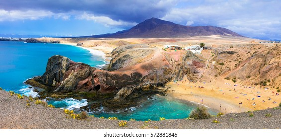Unique volcanic island Lanzarote - beautiful beach Papagayo, Canary islands, spain