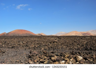 Unique volcanic landscapes. Lanzarote, Canary islands. Spain