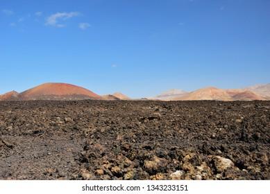 Unique volcanic landscapes. Lanzarote, Canary islands. Spain