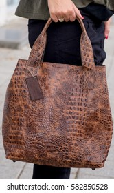 unique woman  leather handbag , crocodile leather