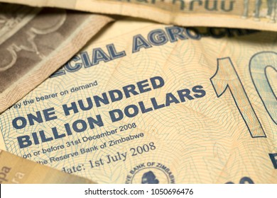 Unique Zimbabwe hyperinflation Banknote one hundred billion Dollars, 2008