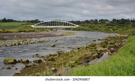 Uniquely designed Te Rewa Rewa pedestrian bridge in New Plymouth, New Zealand