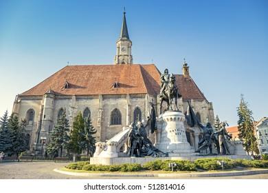 Unirii Square and The St. Michael's Church in Cluj-Napoca, Romania