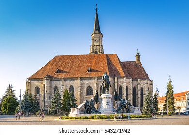 Unirii Square and The St. Michael's Church in Cluj-Napoca, Romania
