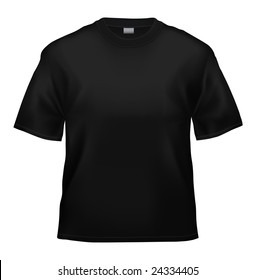 Unisex black T-shirt template (isolated on white, clipping path)