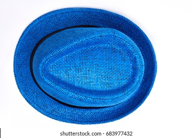 Unisex blue hat, top view. Woven headwear for beach vacation.