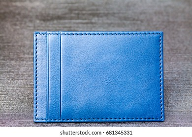 Unisex Blue Leather Card Holder