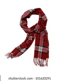 Unisex Cashmere Wool Red Plaid Scarf with trim isolated on white background