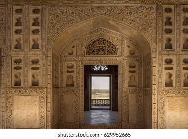 Unisque architectural details of stone carving patten in the Agra Fort. India.