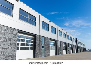unit storage warehouse facility and blue sky