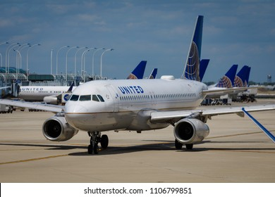 A United Airlines Airbus A320 taxis prior to takeoff at Chicago O'Hare International Airport, June 3, 2018
