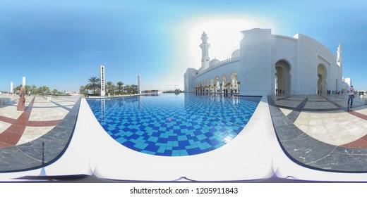 United Arab Emirates, abu dhabi - February 27-2017: 360 degree spherical Panorama of the Sheikh Zayed Mosque in abu dhabi