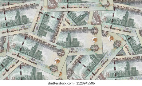 United Arab Emirates AED banknote as background wallpaper using 1000 Dhs one thousand Dirham
