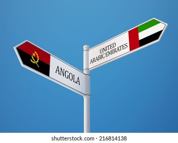 United Arab Emirates  Angola High Resolution Sign Flags Concept