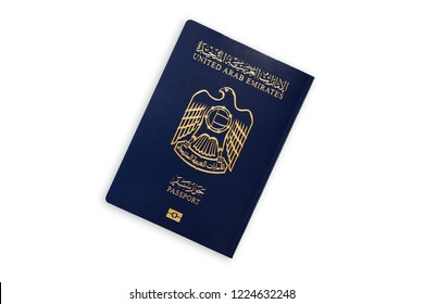 United Arab Emirates blue passport isolated on white background