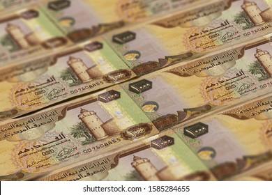 United Arab Emirates Dirham banknotes background. UAE Dirhams pattern. 1000 dirhams