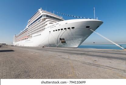 United Arab Emirates, Dubai, 03/12/2015, Dubai cruise port terminal, port rashid. Cruise ships docking.