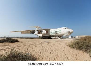 United Arab Emirates, Dubai, 03/22/2015, abandoned cargo plane left in the desert in Umm Al Quwains