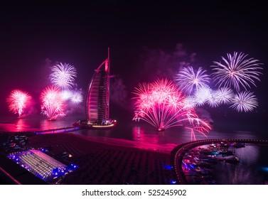 United Arab Emirates, Dubai, 12/30/2014 burj al arab new years eve fireworks