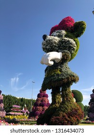 United Arab Emirates, Dubai - February 10, 2019 : Big Minnie Mouse of Miracle Garden with over 45 million flowers in a sunny day, Flower Garden in Dubai, UAE