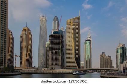 United Arab Emirates, Dubai - January 13, 2014: The skyline of Dubai at the day in Dubai
