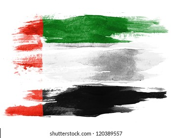 The United Arab Emirates flag painted on white paper with watercolor