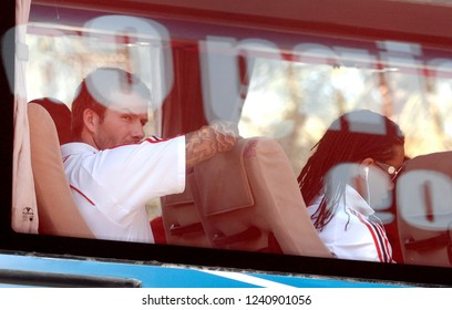 UNITED ARAB EMIRATES: JANUARY 02, 2008: AC Milan soccer player David Beckham , looks on from the bus window  at the Al Maktoom soccer stadium, in Dubai.