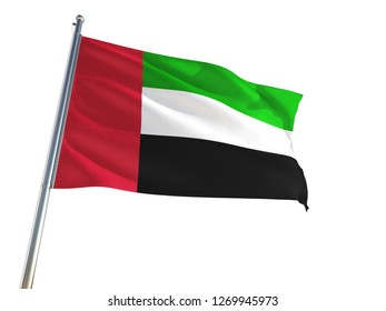 United Arab Emirates National Flag waving in the wind, isolated white background. High Definition