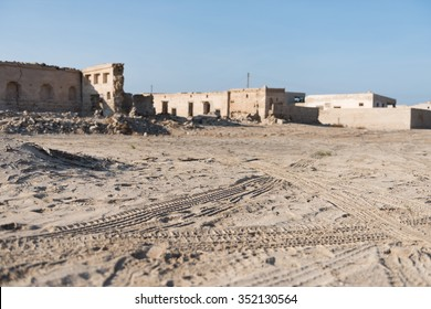 United Arab Emirates, Ras Al Khaimah, 04/11/2015, Tyre tracks at Old Ras Al Khaimah abandoned ghost town, Al Jazirah Al Hamra