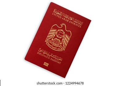 United Arab Emirates red diplomatic passport isolated on white background