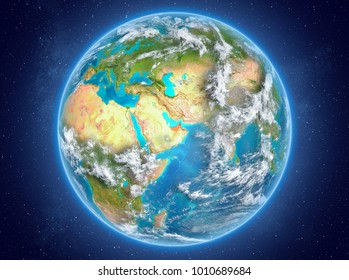 United Arab Emirates in red on model of planet Earth with clouds and atmosphere in space. 3D illustration. Elements of this image furnished by NASA.