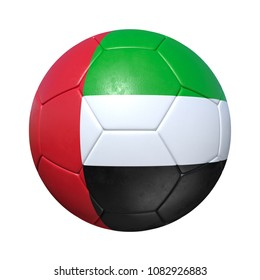 United Arab Emirates soccer ball with national flag. Isolated on white background. 3D Rendering, Illustration.