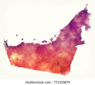 United Arab Emirates watercolor map in front of a white background