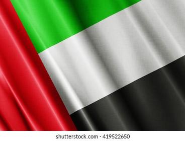 United Arab Emirates waving flag close