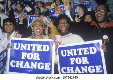 United For Change signs at a St. Louis campaign rally in 1992, Bill Clinton's final day of campaigning in St. Louis, Missouri