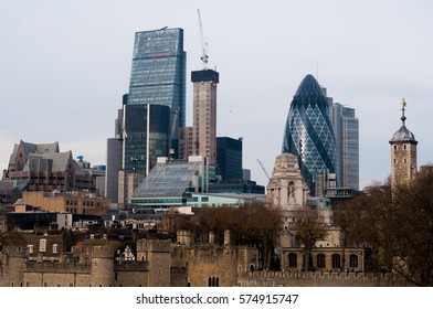 UNITED KIGDOM, LONDON, DECEMBER 07,2016: View of London skyscrapers in London-City