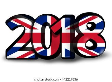 United Kingdom 2018 big bold font 3d render illustration