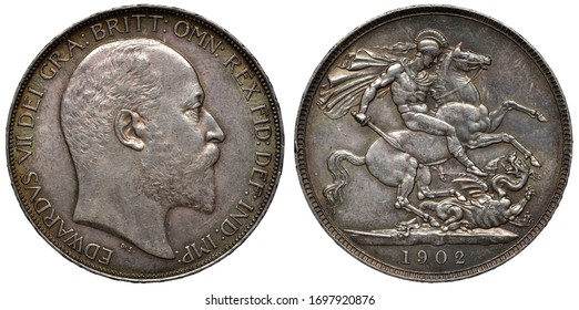 United Kingdom British silver coin 1 one crown 1902, head of King Edward VII right, St George on horse slaying dragon,