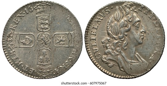 United Kingdom British silver coin 6 six pence 169?, four crowned shields with lions, lily and harp in cross-like pattern, bust of King William III right,