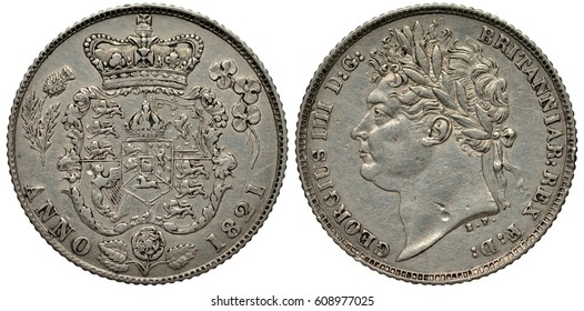 United Kingdom British silver coin 6 six pence 1821, floral shield with lions and harp flanked by thistle and clover, crown above, rose below, King George IV laureate head left,