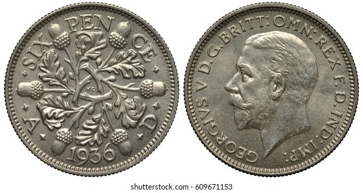 United Kingdom British silver coin 6 six pence 1936, last year of reign, pattern of oak branches with leaves and acorns, date below, head of King George V left,