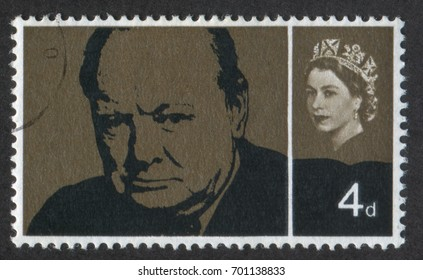 UNITED KINGDOM - CIRCA 1965: A stamp printed in UK, shows Sir Winston Spencer Churchill (1874-1965), Former British Prime Minister, statesman and World War II leader, circa 1965