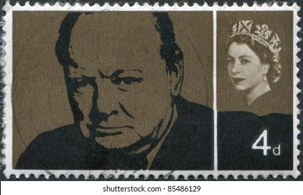 UNITED KINGDOM - CIRCA 1965: A stamp printed in England, shows Sir Winston Spencer Churchill, statesman and WWII leader, circa 1965