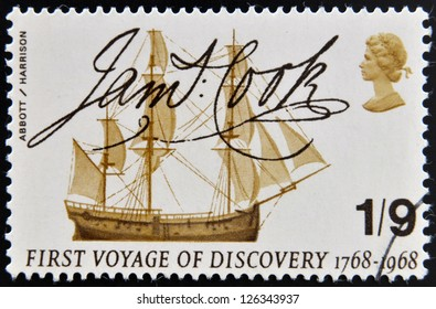 UNITED KINGDOM - CIRCA 1968: A stamp printed in Great Britain shows Captain Cook's Endeavour and Signature, circa 1968