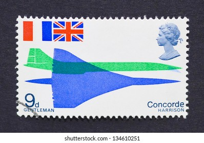 UNITED KINGDOM - CIRCA 1969: a postage stamp printed in United Kingdom showing an image of Concorde, circa 1969.