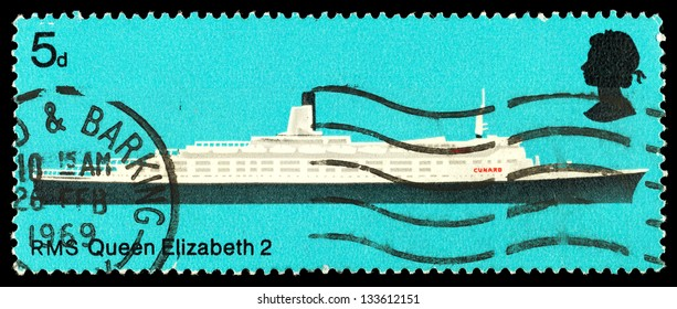 UNITED KINGDOM - CIRCA 1969: A used postage stamp printed in Britain showing the Liner RMS Queen Elizabeth 2, circa 1969