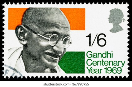 UNITED KINGDOM - CIRCA 1969: A used postage stamp printed in Britain celebrating the Centenary of the Birth of Mahatma Gandhi